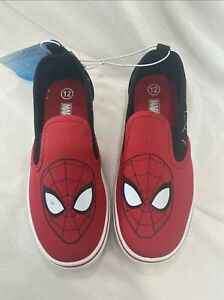 TODDLER BOYS MARVEL SPIDERMAN  SLIP ON Shoes SNEAKERS RED SIZE 12