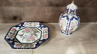 Porcelain Tea Caddy/Ginger Jar/Urn with lid and Octagon Shaped Plate. Japan.