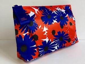 Estée Lauder Fabric Makeup Bag Red & Blue Flowers (satin like material)