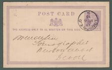 1876 GB QV ½d postal stationery postcard from London to Newton Abbot (J4)