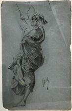 DESSIN ORIGINAL PAR JULES CHERET (1836-1932) Danseuse à l'éventail 1900 JCH4
