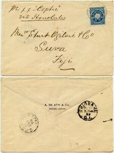 JAPAN to FIJI via HAWAII 1899 SHIP COPTIC PRINTED ENV DE ATH Co HIOGO + BRISBANE