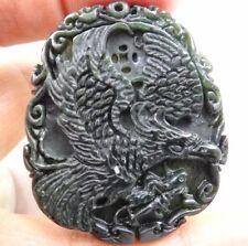 Antiguo Chino Antiguo Tallado a Mano Oriental Amuleto Colgante piedra jade Miao budista