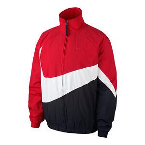 Nike Big Swoosh Windbreaker Woven Full Zip Men Jacket Red/White/Black AR3132-657
