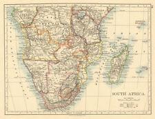 COLONIAL SOUTHERN AFRICA German/British/Portuguese/French JOHNSTON 1892 map