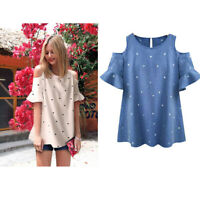 Women's A-Line Crew-Neck Loose Short Sleeve Tunic Top T-Shirt Blouse Fashion TOP