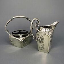 Milchkännchen Zuckerdose Silberzinn Jugendstil