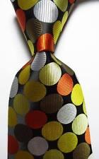 New Classic Polka Dot Black White Gold JACQUARD WOVEN Silk Men's Tie Necktie