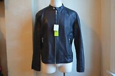 VERSACE JEANS CLASSIC BLACK SUPPLE PERFORATED LEATHER MOTO JACKET COAT XXXL 58 M