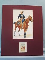 """""""The Cavalry Officer"""" painted by Frederic Remington and his own stamp"""