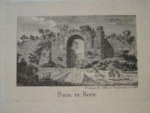 BELLE GRAVURE XVIII° PAYSAGE VUE ANNIMEE ROME ROMA ITALIE ITALIA DIRECTOIRE 1799