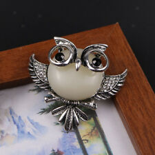 Tibet Silver Rhinestone Owl Brooch Pin Banquet Lapel Broach Badge Xmas Gift