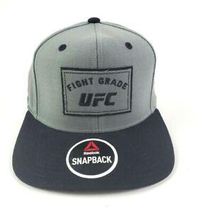 Reebok UFC Fight Grade Gray Black Embroidered Snapback Hat Cap NEW