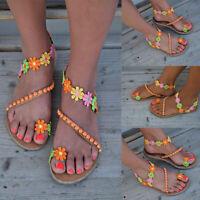 Womens Boho Beads Flower Sandals Gladiator Summer Beach Flip Flops Flat Shoes