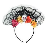 Mujer Halloween Día de los Muertos Disfraz Telaraña Diadema Tocado