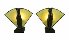 Cat Table Lamp Pair of Table or Bedside Lamps - Tiffany Glass Fan