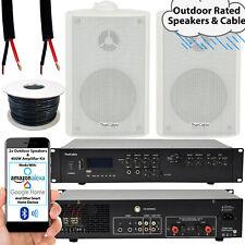 400W LOUD Outdoor Bluetooth System –2x White Speaker– Weatherproof Garden Music