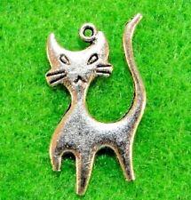 10Pcs. Tibetan Silver 2-Sided CAT Charms Pendants Earring Drops Findings C16A