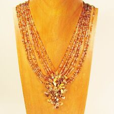 """16"""" Orange Multi Color Stone Chip Cluster Handmade Seed Bead Necklace"""