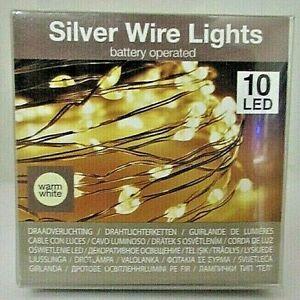 10 er LED Mikro Lichter Draht 90 cm Batterie inclusive  silver wire Lights  90