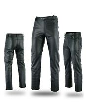 Mens Motorcycle Fashion Cowhide Top Grain Leather Jeans Trouser Size 54
