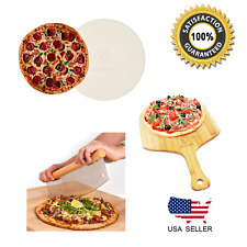 "Pizza Stone Set w/ 16"" XL Pizza Stone, Peel and 14"" Cutter. Over $75 value!"