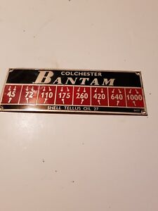 Colchester lathe Bantam Nameplate