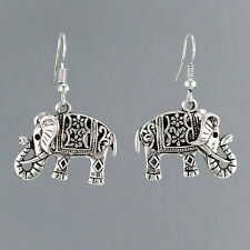 Silver Indie Inspired Bohemian Elephant Drop Dangle Style Earrings