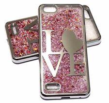 For ZTE BLADE FORCE N9517 SILVER LOVE Pink Glitter Stars Liquid Skin Case Cover