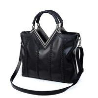 Fashion Women PU Leather Bag Handbag Shoulder Bag for Girls Ladies Tote black