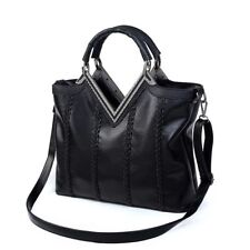 Fashion Women PU Leather Bag Handbag Shoulder Bag for Girls Ladies Tote black