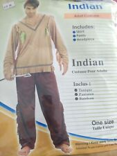 Mens Indian Western Fancy dress costume Native American Outfit
