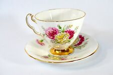 Adderley Pedestal Tea Cup & Saucer Red & Yellow Floral Design and Gold Gild