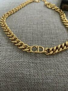 Christian Dior Chain Necklace Choker Gold Circle plate w/Storage Box