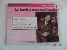 CARTE FICHE PLAISIR DE CHANTER CHARLES TRENET LE JARDIN EXTRAORDINAIRE