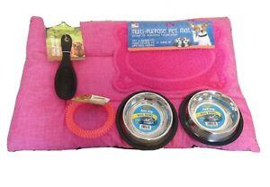 dog puppy starter kit, dog starter pack, soft dog bed, Pink puppy pack