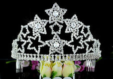 Large Pageant Party Stars Tall Tiara Crown use Austrian Crystal AT1585