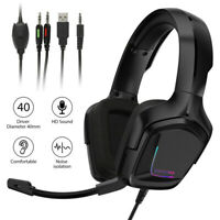 RGB Gaming Headset Stereo Surround Headphone 3.5mm Wired Mic For PS4 Xbox Laptop