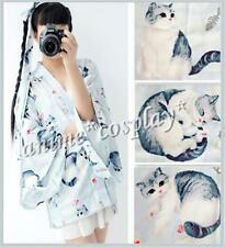 Summer Japan Women Long Sleeve Blue Gray Cat Haori Kimono Yukata Coat Outwear