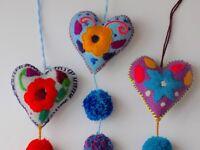 Mexican Heart PomPom Pom Pom Tassel Keychain Key Fob Bridal Shower Gift for Her