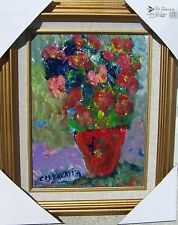 Listed Artist Charles Vavrina Acrylic on Board Pot of Sweetpea's 12 x 9