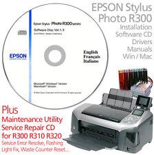EPSON Stylus Photo R300 STAMPANTE CIS disco di installazione del software + cd di manutenzione