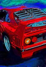 Automotive Motorsport Car Art.  1992 Ferrari F40 V-8 twin turbo large print
