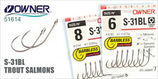 Owner Barbless S-31BL hooks spoons, spinners, minnow