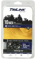 "Sealed Nip 2 Pack 10"" Trilink Chainsaw Chain S40 25cm Fits Echo,Husqvarna,Poulan"