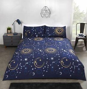 CELESTIAL SUNS MOONS STARS NAVY BLUE GOLD COTTON BLEND KING SIZE DUVET COVER