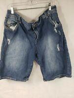 Lane Bryant Shorts Size 22 Blue Denim Factory Distress Stretch Short Pants.