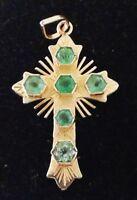 Cruz de oro 18 cts y esmeraldas naturales