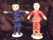 Old cloth doll couple traditional Japanese garb hairdos  vintage 1950s on stands