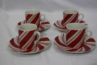8pc Vtg NEIMAN MARCUS Christmas Peppermint Candy Cane DEMITASSE Cup & Saucer Set